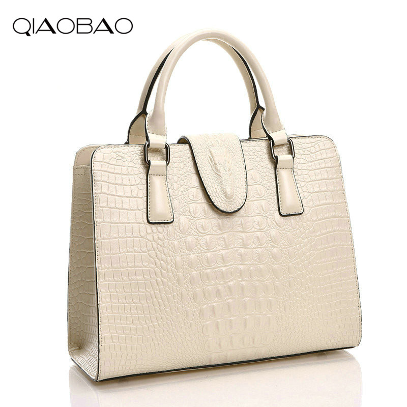 QIAOBAO 2018 New women bag genuine leather brands quality cowhide alligator grain embossing fashion women handbags shoulder big qiaobao women general genuine leather handbags tide europe fashion first layer of cowhide women bag hand diagonal cross package