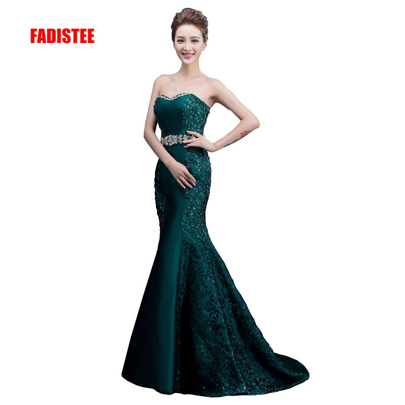 FADISTEE new arrival party   prom     dress   sweetheart neck evening party lace flowers pattern sashes strapless crystal long style