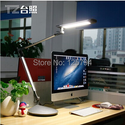 все цены на 10W TZ-002 Foldable long arm led desk lamp clip lamp desktop  3 levels dimmable Eye protection Lights with two different base онлайн