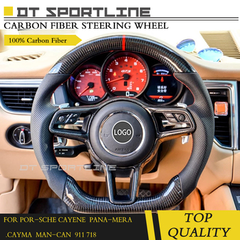 Real Carbon Fiber Steering Wheel Replacement suitable for Porsche 2014+ Macan for 718 For Cayenne 957 For Panamera 970 911