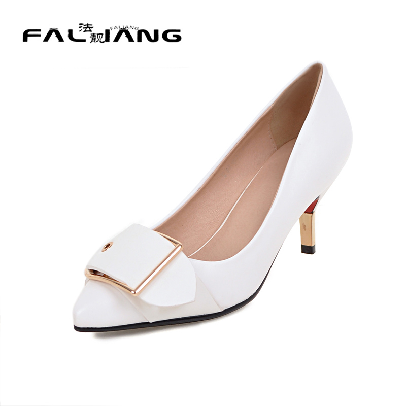 ФОТО Big Size 11 12 Sexy Pointed Toe Metal Decoration Casual Thin Heels Women's Shoes High Heels Pumps Woman For Women