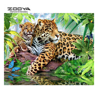 ZOOYA Diamond Embroidery 5D DIY Diamond Painting Leopard Forest Leaves Diamond Painting Cross Stitch Rhinestone Mosaic