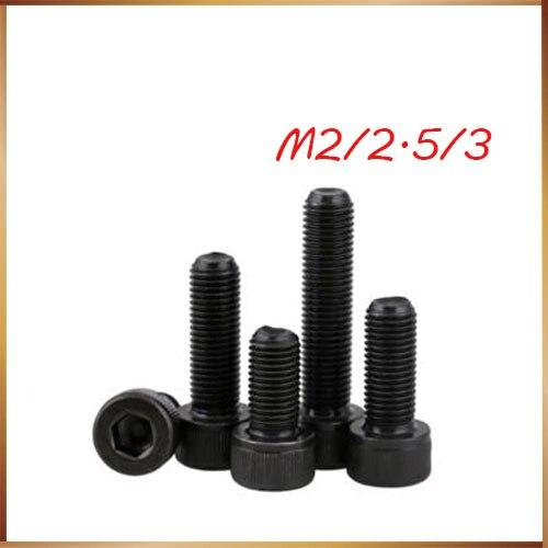 m2.5 50Pcs M1.6 M2 M2.5 M3 DIN912 Black High-strength 12.9 Level Alloy Steel Screw Hexagon Socket Head Cap Car Screws HW024 2pcs din912 hexagon socket head cap screws class 12 9 black m36 60 65 200mm page 6