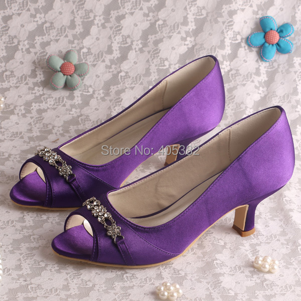 Wedopus mw914 stylish purple bridal low heel dress shoes for Low heel dress shoes wedding