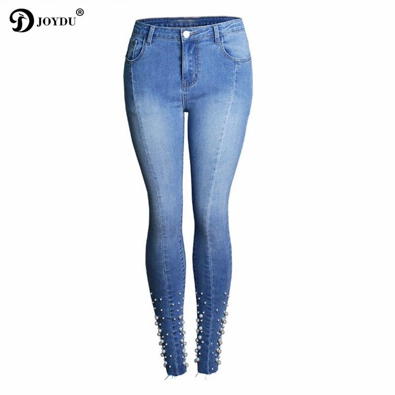 JOYDU 2018 nouvelle marque élastique Jeans pour femmes mode perles perles Denim pantalon pantalon S-3XL petit ami crayon Skinny Jeans