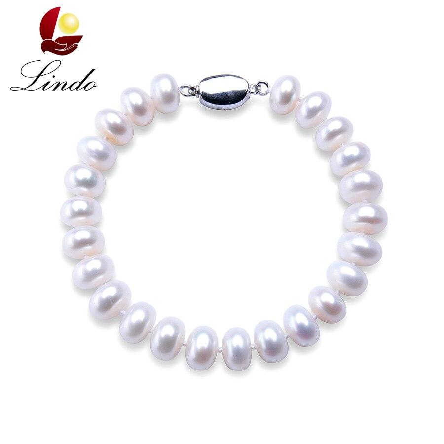 160c0c64e103 De alta calidad de perlas naturales de agua dulce pulseras para las mujeres  precio increíble de 7 8mm 9 10mm perla joyería de pulsera de plata 925 18  cm en ...