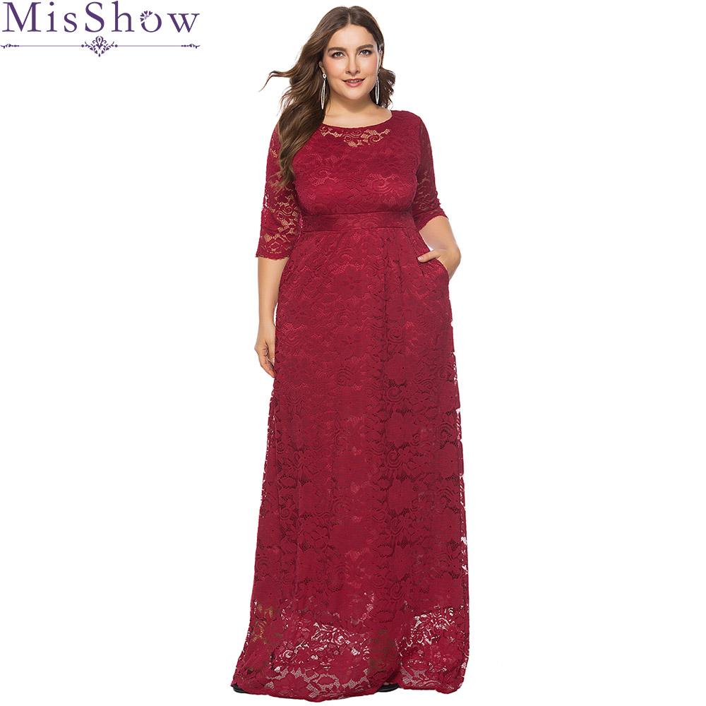 Plus Size Evening DressesLong A-line Burgundy Lace Cheap Burgundy Elegant Long Formal Party Gowns with Short Sleeves