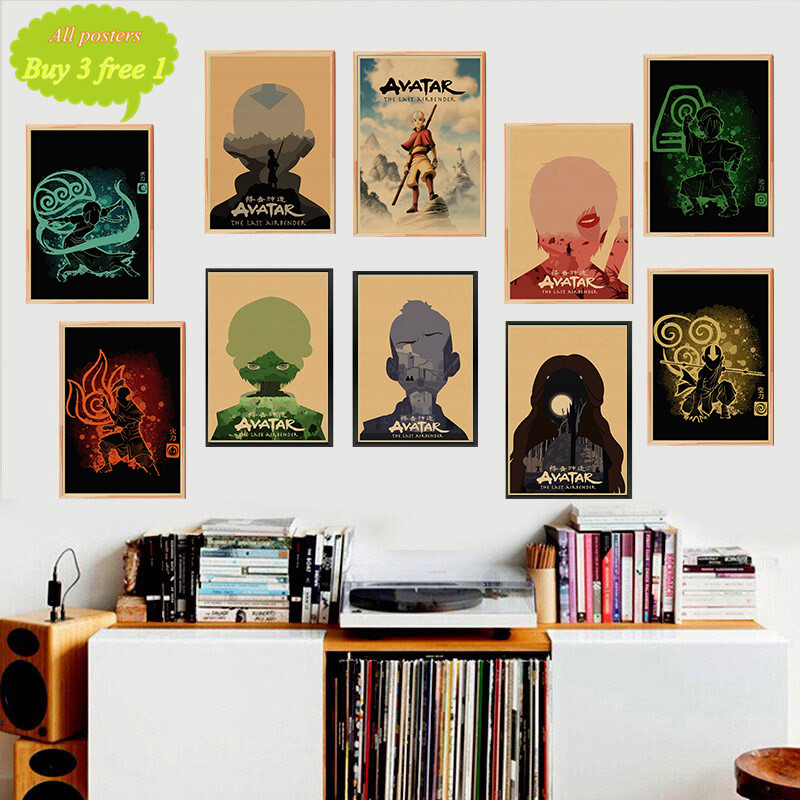 <font><b>Avatar</b></font> The Last Airbender <font><b>Aang</b></font> Katara Cartoon Kraft posters And Print Wall Art Painting Wall Picture For Living Room Home Decor image