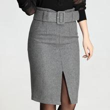 Autumn Winter Retro Woolen Skirt Warm Knee-Length Women Elastic With Belt