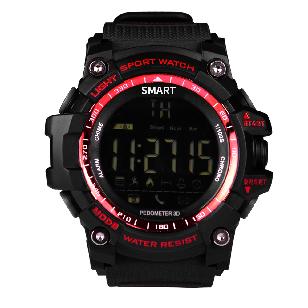 EX16WATCH Sport Smart Watch Pedometer Stopwatch 5ATM Waterproof Smartwatch Call Message Reminder Wristwatch for Android IOS