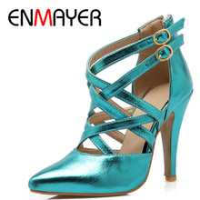 ENMAYER Fashion Summer Ankle Boots Shoes Woman 3 Colors Modern Stylish Blue Pointed Toe Cross Strap High Heels Sandals Boots