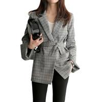 2018 New Autumn Women Gray Plaid Office Lady Blazer Fashion Bow Sashes Split Sleeve Jackets Elegant
