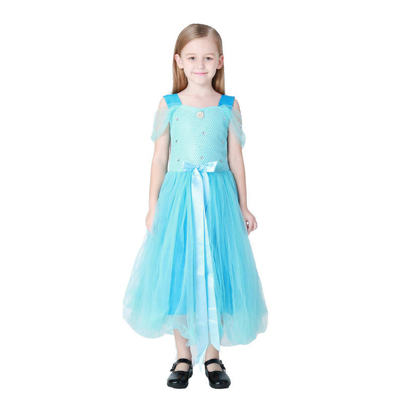 New Beautiful Childs Costume Halloween Kid Cosplay Costumes Blue Princess Dress Childrens Day Performance Disfraces 71018H153