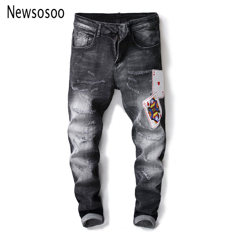 European American Style fashion brand mens jeans luxury Men straight denim trousers zipper Slim black patches jeans for men