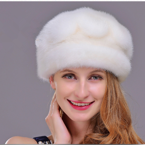 HM020 Winter hats for women  Real genuine mink  fur hat  women's winter hats whole piece mink fur hats women s winter beanie hat wool knitted cap shining rhinestone beanie mink fur pompom hats for women