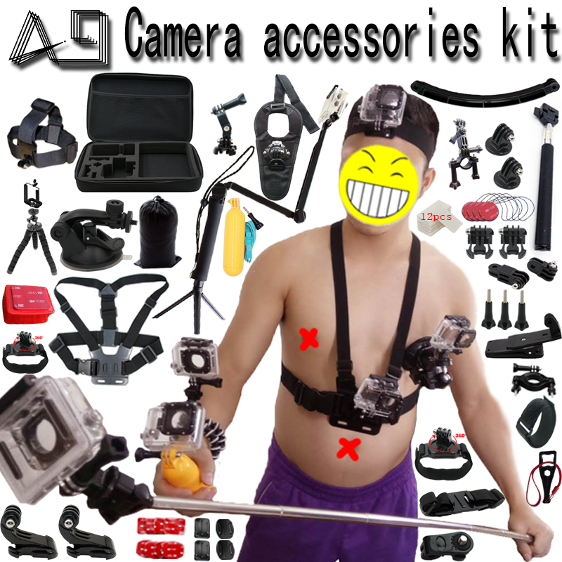 A9 per Gopro Accessori set per go pro hero 6 5 4 3 kit supporto per SJCAM SJ4000/xiaomi yi/eken h9/sony action cam treppiede