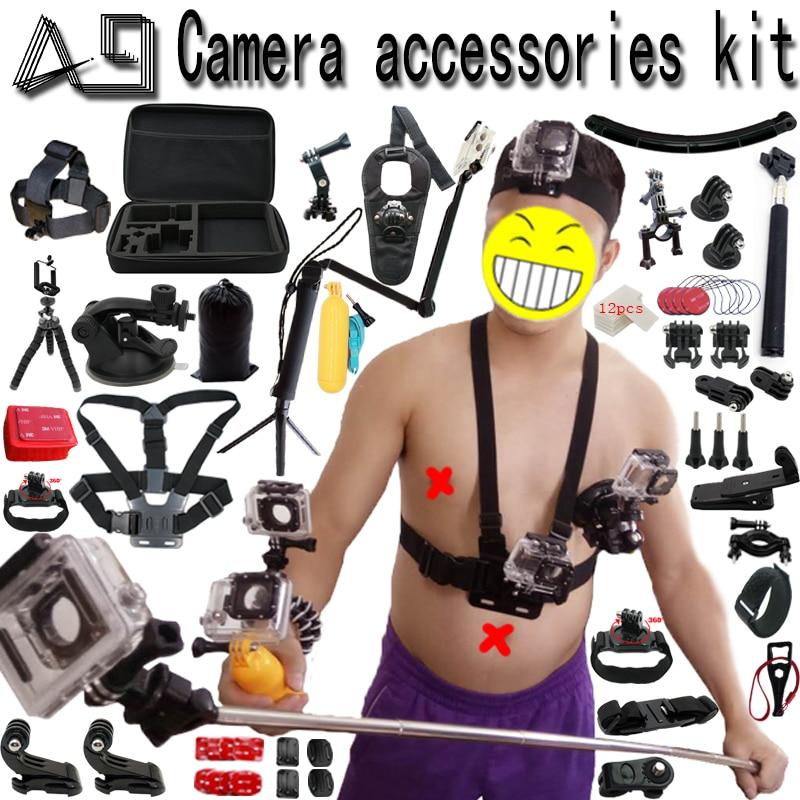 A9 pour Gopro Accessoires set pour go pro hero 6 5 4 3 kit montage pour SJCAM SJ4000/xiaomi yi/eken h9/sony action cam trépied