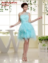 Maphia Cocktail Dresses 2017 Organza Above Knee, Mini Custom Made Crystal Short Blue Party Dress