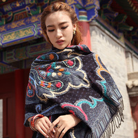 India Nepal hijab scarf women hand embroidered ethnic wind wool shawl scarf female travel photo to keep warm long paragraph wild