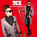 Male Singer Dj Gd Light Gray Sanding Geometric Lines Long Fashion Slim Blazer Suit Costumes Men New Jackets Mens Trench Coat