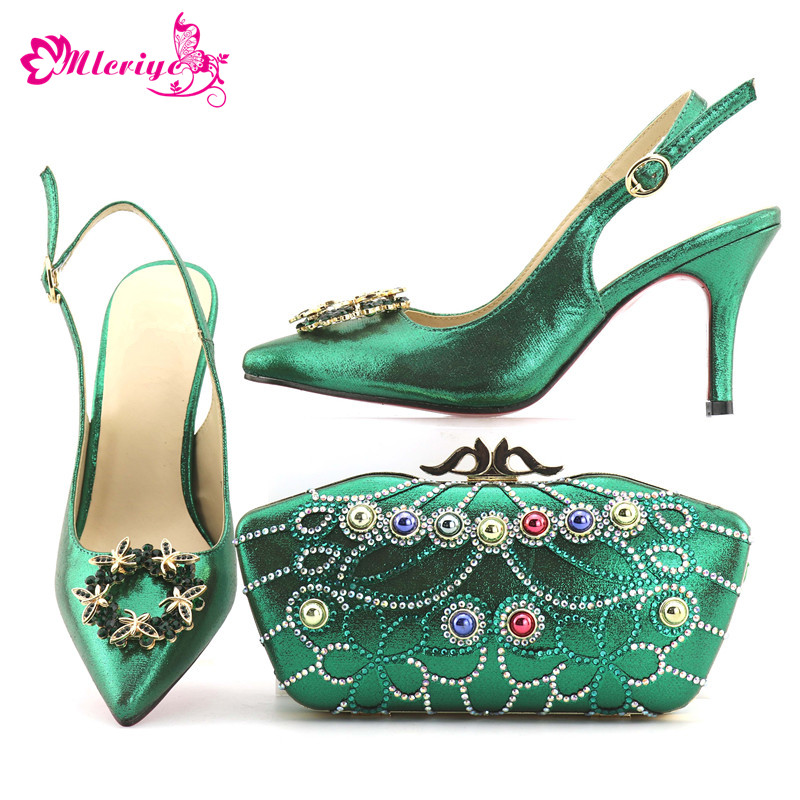 Women Italian African Party Pumps Shoes and Bag Nigerian Party Shoes with Bag Set Decorated with Rhinestone Womens Shoes Heels