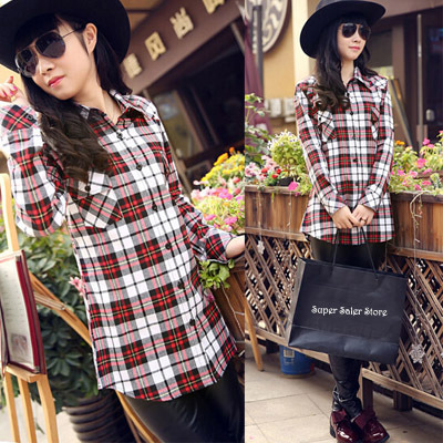 New Women Classic Plaid Blouses Turn-down Collar Long Sleeve Plaids Print Pattern Flannel Shirt Ladies Casual Cotton Blouse Tops