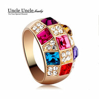 Beautiful!!! Rose Gold Color Multicolor Austrian Crystals Inlaid Luxury Queen Style Lady Finger Ring Wholesale
