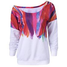 Women Casual Loose Long Sleeve Rainbow Print Pullover Shirts Sweatshirt Women's Fashion Sweatshirt