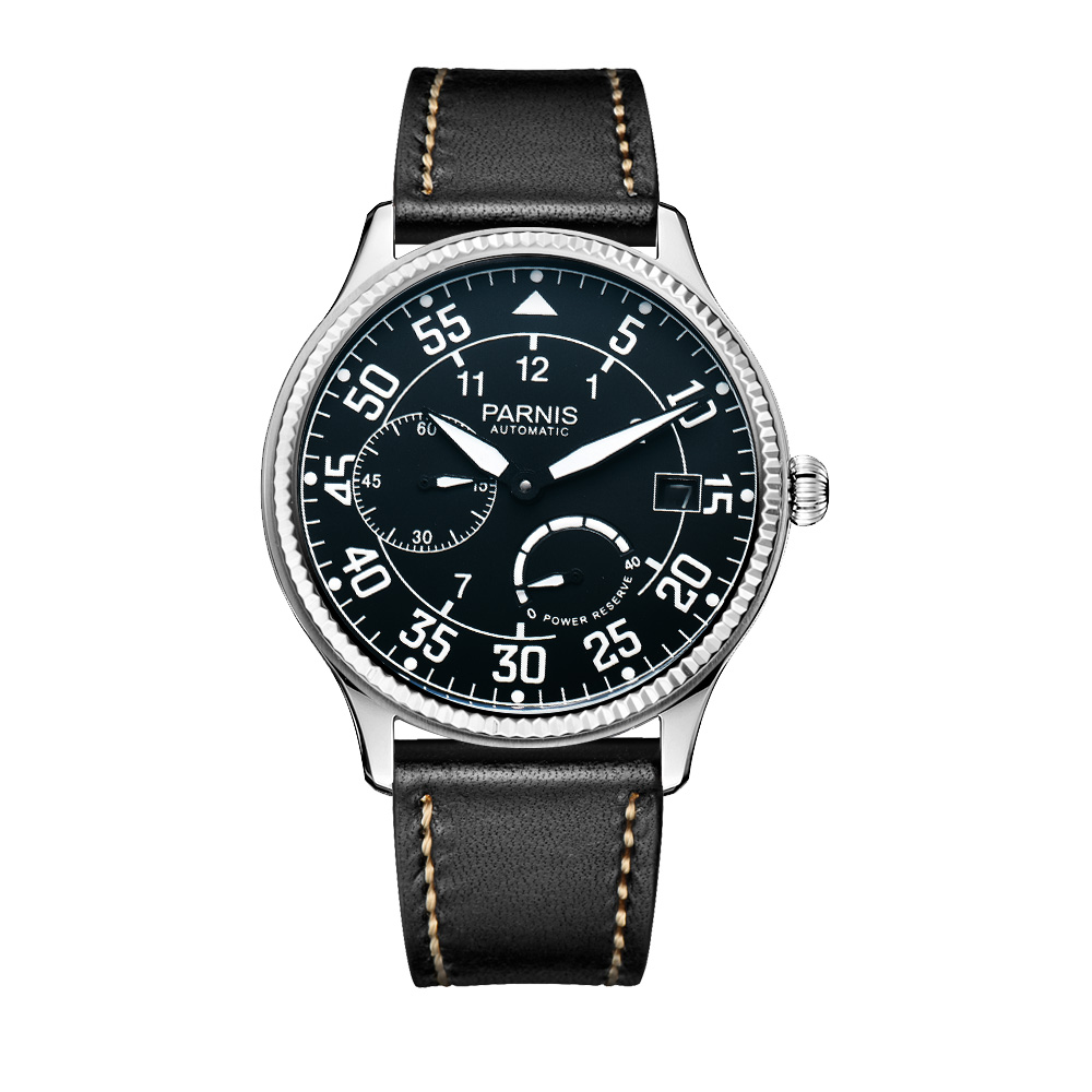 New Parnis 45mm Dial Automatic Mechanical Men's Watch Leather Strap Waterproof Men Wrist Watches Man Clock 2019 Top Luxury Brand-in Mechanical Watches from Watches    1