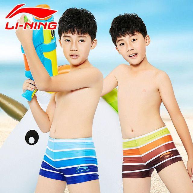 8d0c410b89 LI-NING Children Swim suit New boys professional Swimming trunks Sport Boxer  Shorts Kids boy
