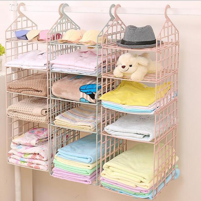 DIY Wardrobe Hanging Clothes Hat Organizer Women 4 Layer Closet Storage  Holder Hanger For Underwear Bar