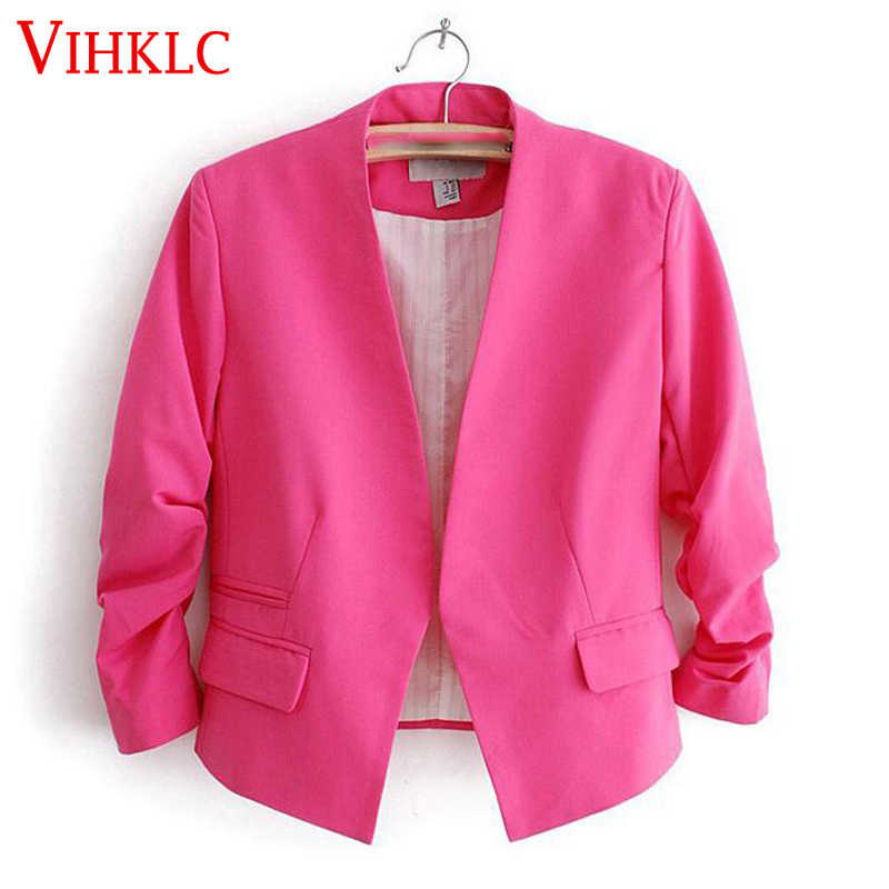 Spring Blazer Women Candy Color Female Blazer Jacket long Sleeve Pockets None Button Slim Short Suit Jacket Feminino L875