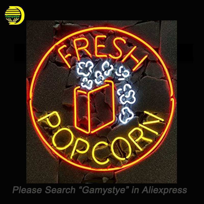 Fresh Popcorn Neon Sign Handcrafted Neon Bulbs Art Real Glass Tube Decorate Shop beer Bar Pub signs outdoor exhibition signs