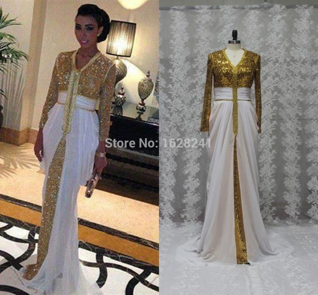 2e5b7db2229 Arabe Longue Blanc et Or Paillettes Dentelle Robes De Soirée Dubaï Kaftan  Manches Longues de bal ...