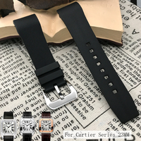 20mm 23mm Rubber Silicone Watch Strap New Fashion Waterproof Needle Buckle Band Bracelet Perfect for Watches Santos DE Cartier