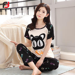 Милые пижамы Для женщин пижамные комплекты Для женщин кошка лоскутное печати короткий рукав шею Темно-синие футболка + длинные штаны