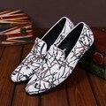 Christia Bella Zapatos Del Banquete de Boda de Los Hombres de Alta Calidad de Los Hombres Pisos Mocasines Blancos Zapatos Casuales de Cuero Genuino para Hombre Holgazanes Del Vestido