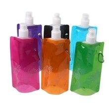 480 мл складная сумка для воды, для пеших прогулок, кемпинга, спорта, портативная силиконовая бутылка для безалкогольных напитков