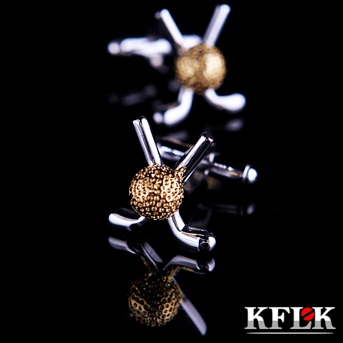 KFLK Luxury shirt cufflinks for mens Brand cuff button cuff link High Quality Gold Golf shape gemelos abotoaduras Jewelry