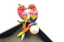 Fashion big jewelry candy color drop glaze luxury women s brooch Crystal from Swarovski Parrot personality