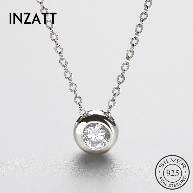 Sterling Silver Women Short Chain For Party Jewelry Clear Austrian Crystal Pendant Necklace Gift
