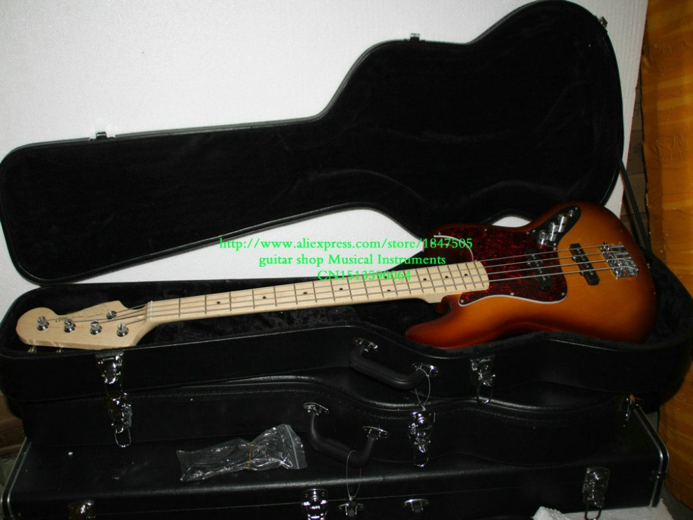 New Arrival 4 Strings Bass Jazz Electric Bass with case IN Sunburst High Quality HOT Musical instruments cherry 12 strings 325 330 rick electric guitar with case best high quality musical instruments
