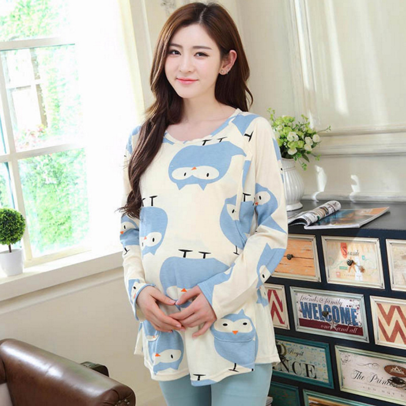 df31d96d74f39 Pengpious 2018 Summer Postpartum Women Cartoon Clothes Set Nursing Short  Sleeve Cotton Breastfeeding Tops+capris Sleepwear Suits