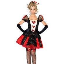 5e51de8c472 Halloween femmes Alice au pays des merveilles Costume de reine rouge mal  vilain reine de coeur fantaisie fête Cosplay tenue unif.