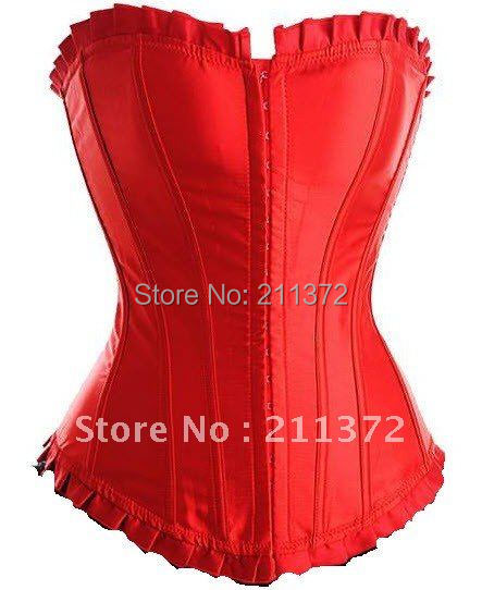 Satin Corset Top with Pleated Trim and match thong