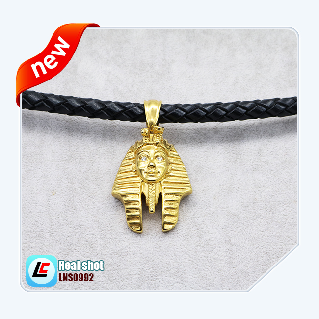 Bling Bling Gold Egypt Pharaoh Pendant Necklace Men Hiphop Cowhide Braided Rope Stainless Steel Real Leather Short Necklaces
