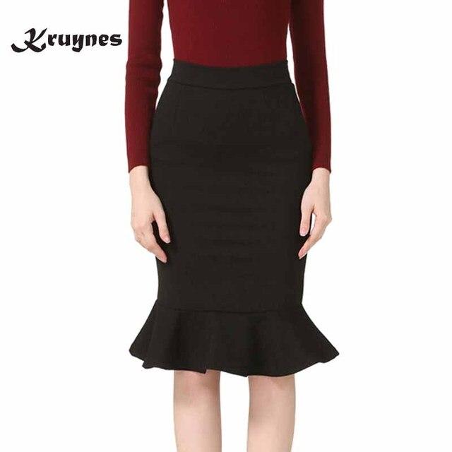 5adb3635340b0 S-5XL Womens Skirts 2018 Fashion Elastic Elegant Sexy High Waist Skirt Slim  Office Lady Formal Ruffles Pencil Skirt Plus Size