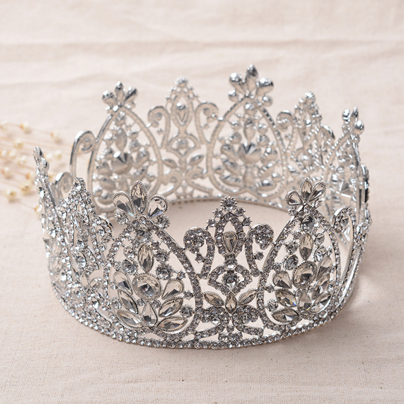 Snuoy Big Full Round Tiara Crowns Pageant Queen Halo Crystal Queen Crown Gold/Silver Circle Tiara Women Headpiece for Prom/Party