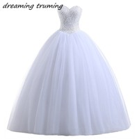 Simple Ball Gown Wedding Dresses With Beading Crystals Long Cheap White Ivory Plus Size Women Bridal