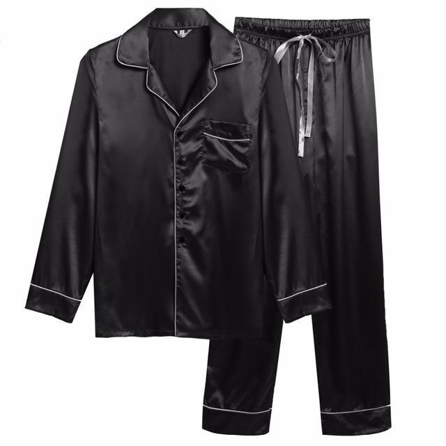 2017 Primavera Masculina Manga Longa Sleepwear Solto Turn Down Collar Roupa de Dormir Calças e Top 2 Peça Terno Pijamas pijamas Set Sono Masculino